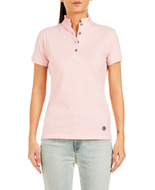 30d8a54477af87 PINK POLO SHIRT WITH RUFFLES