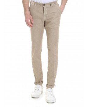 PANTALONE IN COTONE E LINO BEIGE (LINEA SLACKS) - Pantaloni INCOTEX