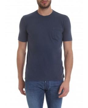 T-SHIRT BLU CON TASCHINO - T-Shirt ZANONE
