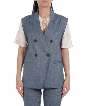 GILET GAZZARA IN DENIM BLU - Gilet 8PM