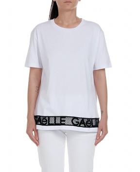 T-SHIRT BIANCA CON PIZZO - T-Shirt&Top GAELLE PARIS
