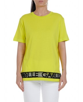 T-SHIRT LIME FLUO CON PIZZO - T-Shirt&Top GAELLE PARIS