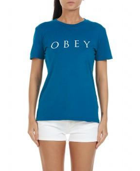 T-SHIRT NOVEL OBEY 2 PETROLIO - T-Shirt&Top OBEY