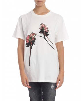 T-SHIRT BIANCA STAMPA FIORI - T-Shirt&Top MM6 MAISON MARGIELA