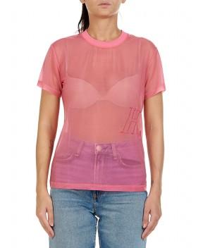T-SHIRT IN ORGANZA FUCSIA - T-Shirt&Top HELMUT LANG