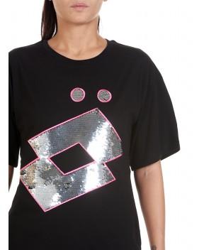 T-SHIRT NERA CON PAILLETTES - T-Shirt&Top GAELLE X LOTTO