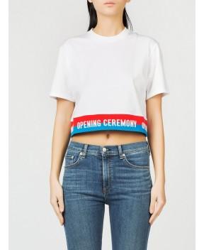 T-SHIRT CROP BIANCA - T-Shirt&Top OPENING CEREMONY