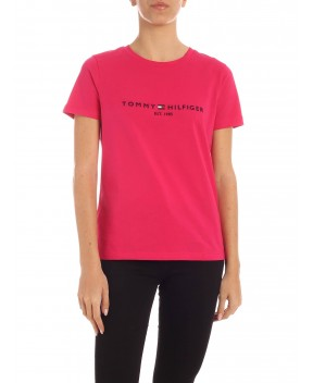 T-SHIRT FUCSIA CON LOGO - T-Shirt&Top TOMMY HILFIGER