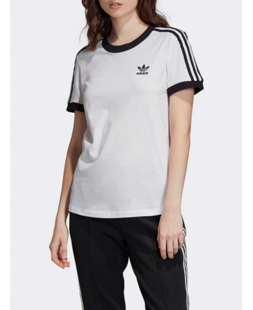 bianca adidas shirt with nero stripes