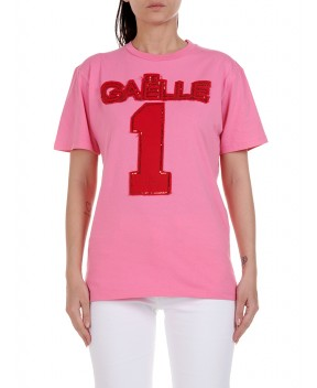 T-SHIRT ROSA CON LOGO IN PAILLETTES - T-Shirt&Top GAELLE PARIS