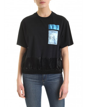 T-SHIRT NERA CON TOPPE - T-Shirt&Top HELMUT LANG