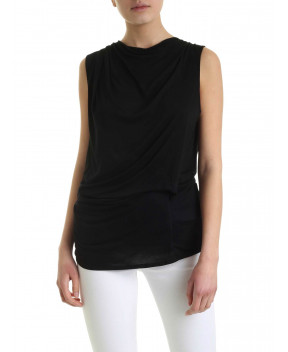 TOP DRAPPEGGIATO NERO - T-Shirt&Top HELMUT LANG