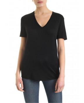 T-SHIRT NERA CON APERTURA SUL RETRO - T-Shirt&Top HELMUT LANG