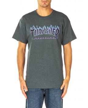 T-SHIRT FLAME LOGO ANTRACITE MELANGE - T-Shirt THRASHER