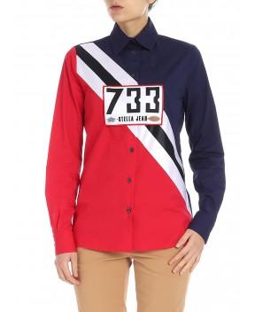 CAMICIA 733 BLU E ROSSA - Camicie&Bluse STELLA JEAN